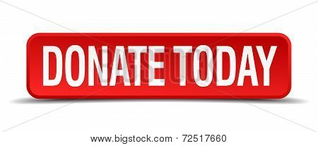 Donate Today Red 3D Square Button Isolated On White Background