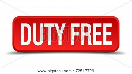 Duty Free Red 3D Square Button Isolated On White Background