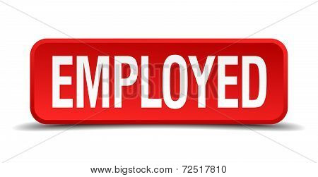 Employed Red 3D Square Button Isolated On White Background