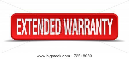 Extended Warranty Red 3D Square Button Isolated On White Background