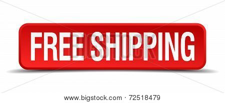 Free Shipping Red 3D Square Button Isolated On White Background