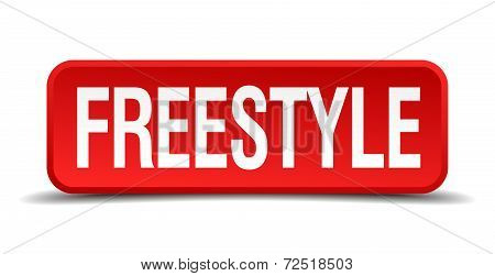 Freestyle Red 3D Square Button Isolated On White Background