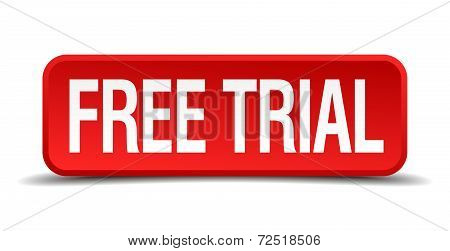 Free Trial Red 3D Square Button Isolated On White Background