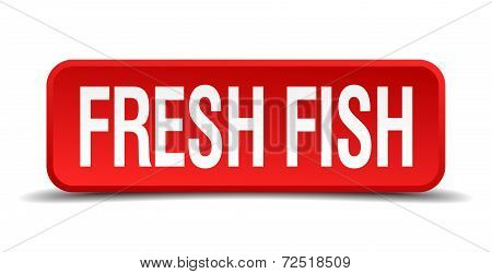 Fresh Fish Red 3D Square Button Isolated On White Background