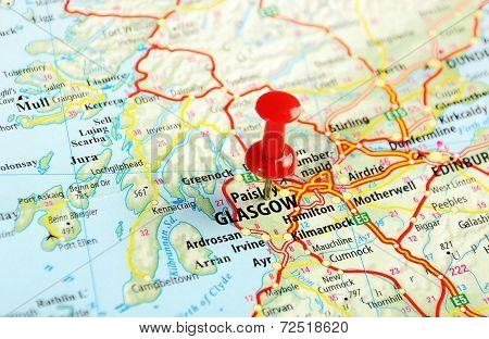 Glasgow Scotland; Great Britain Map