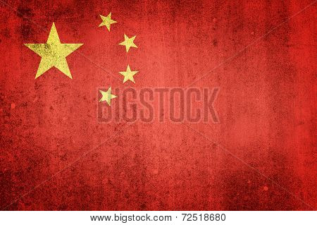 National Flag Of China. Grungy Effect.