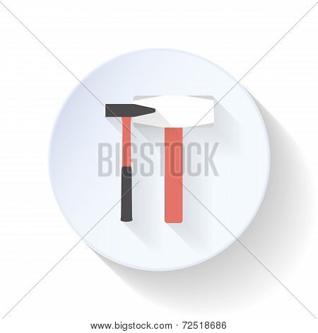 Hammer And Mallet Flat Icon