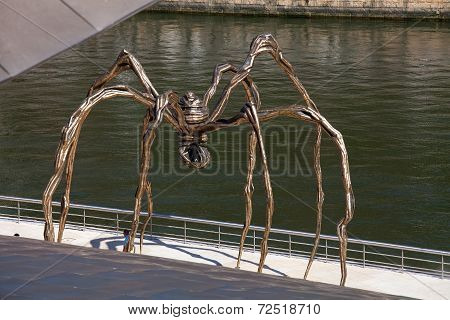 BILBAO, SPAIN - SEPT 3 2014 : A giant spider sculpure sits in wait outside the Guggenheim Museum