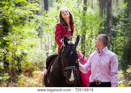 Happy Couple And Horse