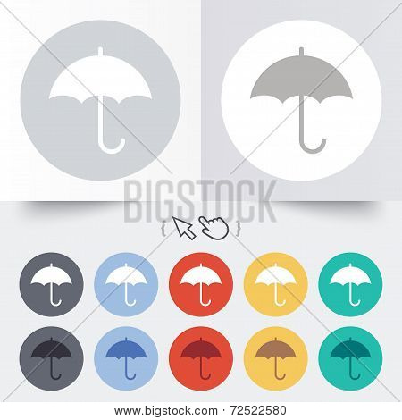 Umbrella sign icon. Rain protection symbol.
