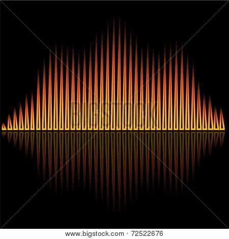 Vector illustration of flame flare equalizer bars on black background