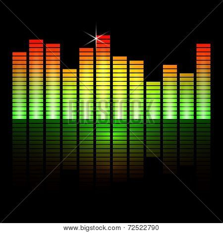Vector illustration of music equalizer bars on black background