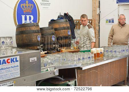 Serving Beer At The Hofbrau Octoberfest Tent