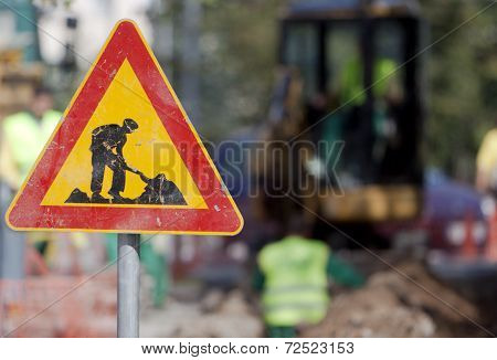 Caution Digging Sign Workers
