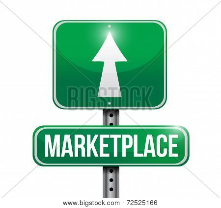 Marketplace Street Sign Illustration Design