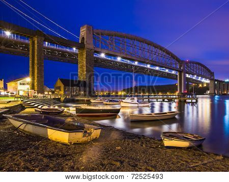 Tamar Bridges At Night Saltash Cornwall