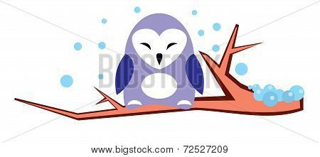 Cute violet owl on a branch in winter - vector illustration