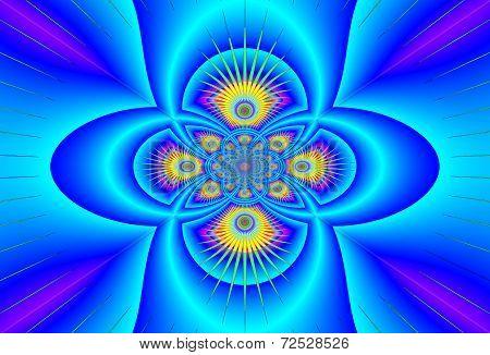 Fantastic Faktal  Ornament Shining Blue-blue Colors. A-0367