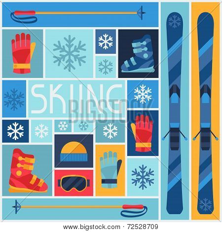 Sports background with skiing equipment flat icons.