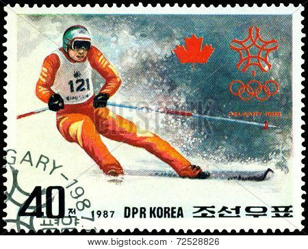 Vintage  Postage Stamp. Olympic Games In Calgary. 9.