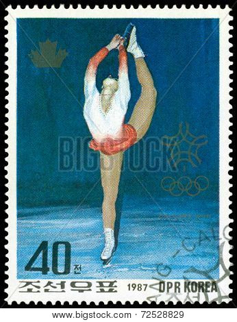 Vintage  Postage Stamp. Olympic Games In Calgary. 10.