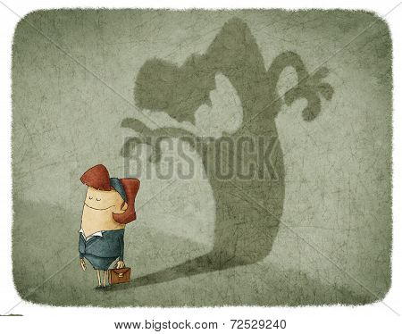 woman casting shadow of an angry woman