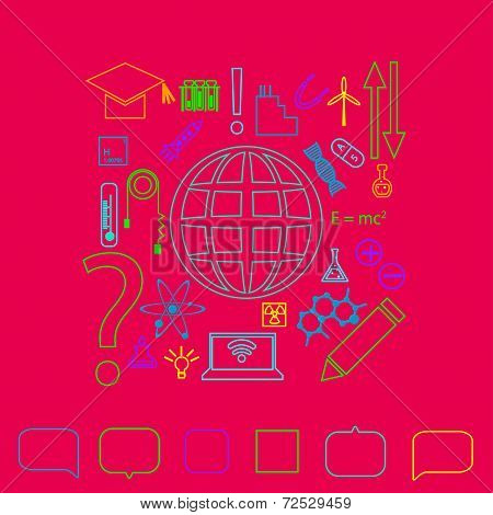 Neon light silhouette vector set of thin line scientific icons