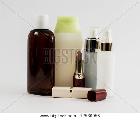 Shampoo Bottls And Lipstik