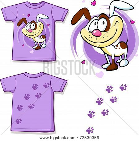 Kid Shirt With Cute Dog Printed - Isolated On White, Back And Front View