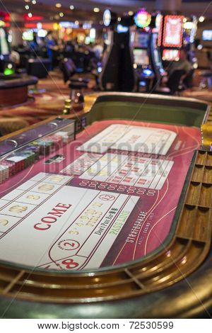 Las Vegas- Usa, July, 4,2014: Stratosphere Gaming Tables In Las Vegas City In July, 4, 2014, United