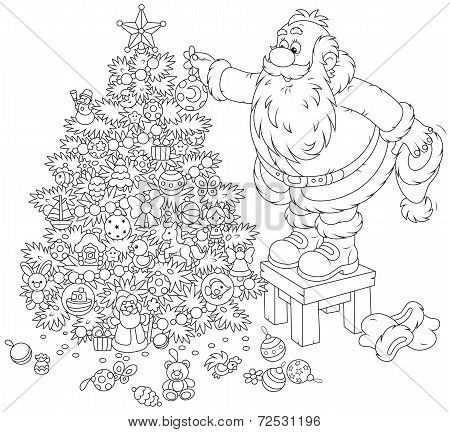 Santa Claus decorating a Christmas tree
