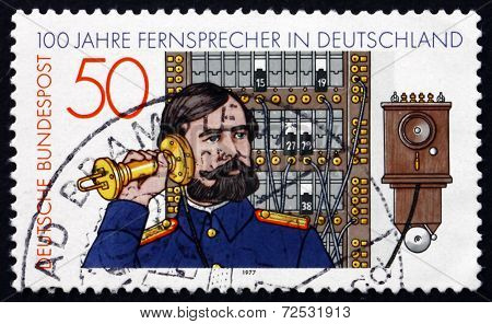 Postage Stamp Germany 1977 Telephone Operator And Switchboard
