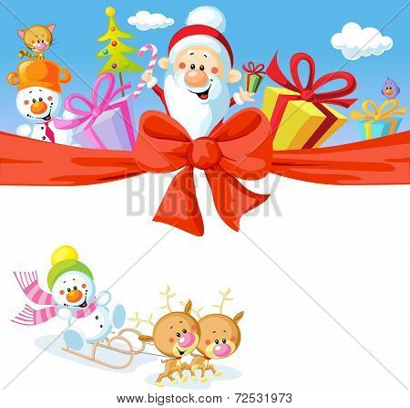 Christmas Design With Santa Claus, Gifts, Xmas Tree, Snowman And Funny Reindeer