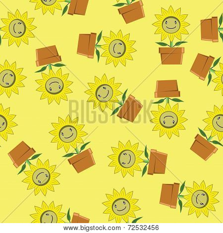 seamless background of cartoon sunflower