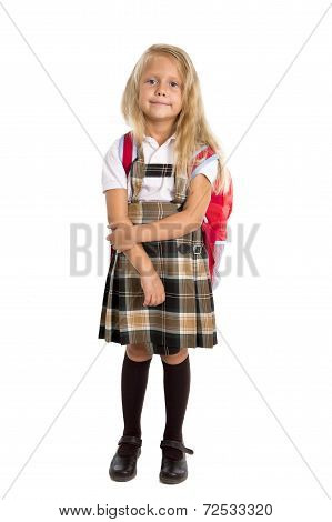 Happy Sweet And Young Blonde Hair Schoolgirl In Uniform Carrying Backpack