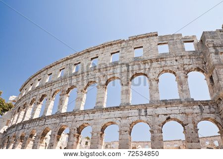 Ancient Roman Amphitheater In Croatia. Pula