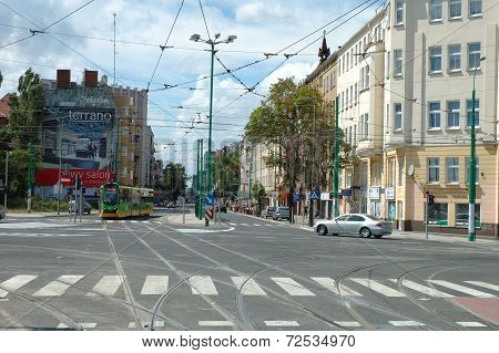 Junction On Dabrowskiego Street In Poznan, Poland