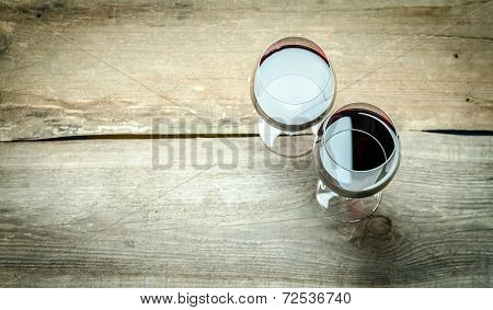 Two Glasses Of Red Wine. The Top View