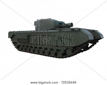 British WW2 Churchill AVRE tank isolated on white