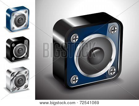 Button Icons Vector 3D Voice Sound