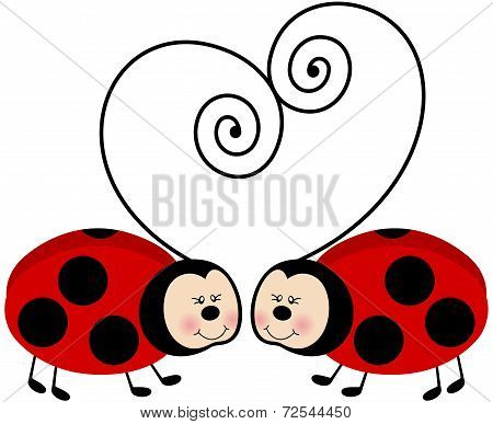 Ladybugs Forming Heart