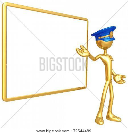 Police Officer With Blank Sign
