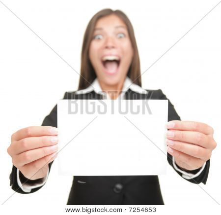 Business Woman Excited Holding Empty Blank Sign Card