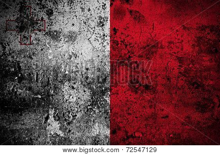 Grunge Flag Of Malta With Capital In Valletta