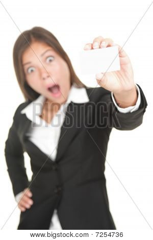 Shocked Asian Business Card Woman Isolated