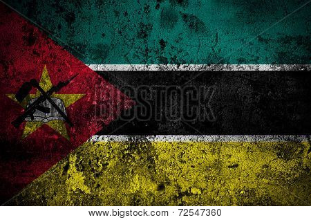 Grunge Flag Of Mozambique With Capital In Maputo