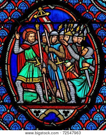 Crusaders - Stained Glass In Cathedral Of Tours, France
