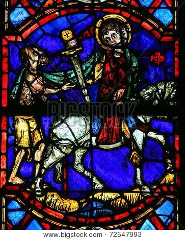 Saint Martin Cuts A Piece Of His Cloak - Stained Glass In Tours Cathedral
