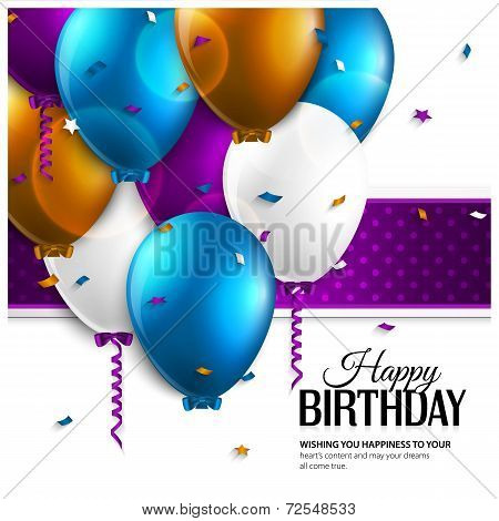 Birthday card with balloons and birthday text.