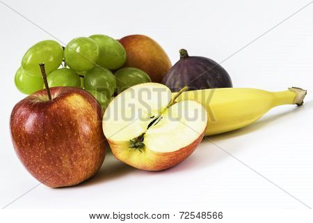 Fresh Apple, Banana, Grapes, Fig, Nectarine